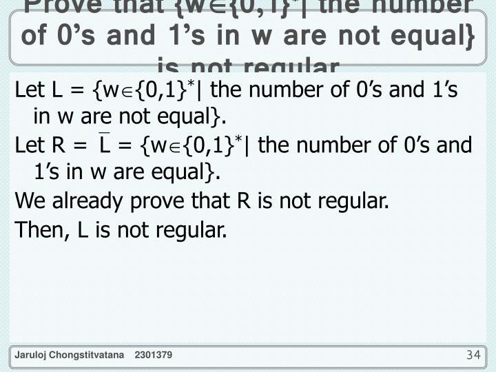 Prove that {w