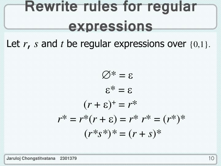 Rewrite rules for regular expressions