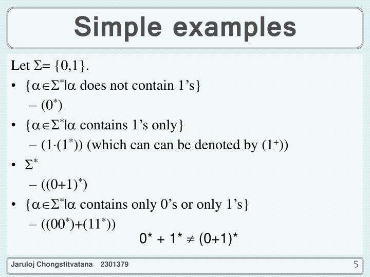 Simple examples