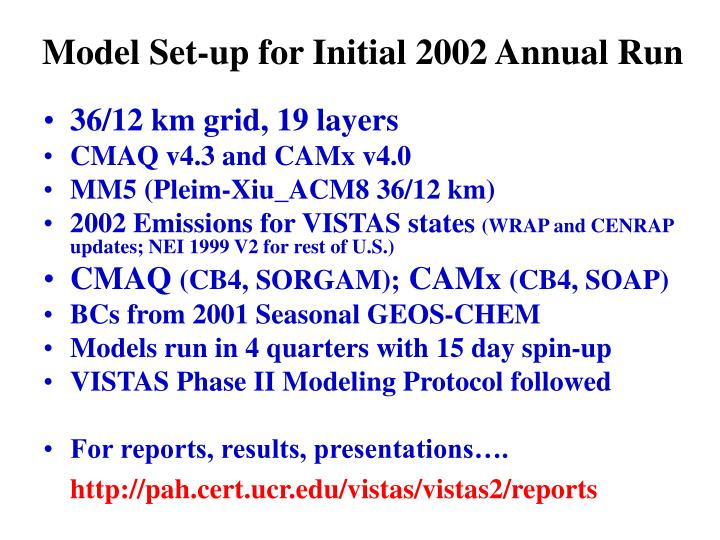 Model Set-up for Initial 2002 Annual Run