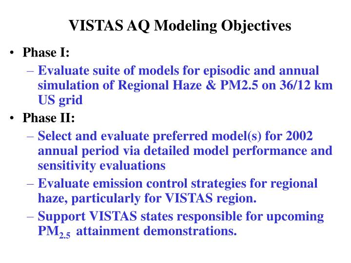 Vistas aq modeling objectives