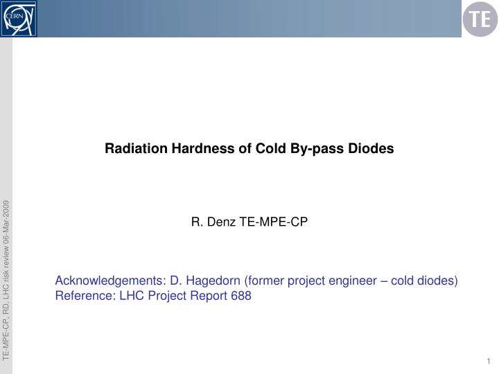 radiation hardness of cold by pass diodes n.