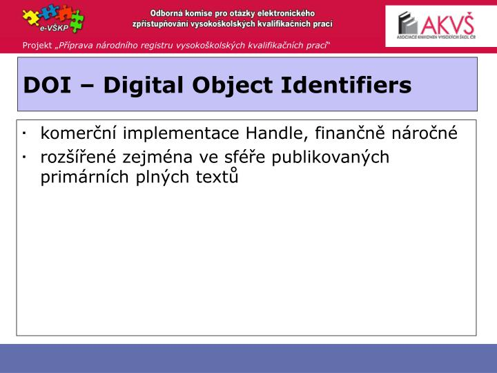 DOI – Digital Object Identifiers