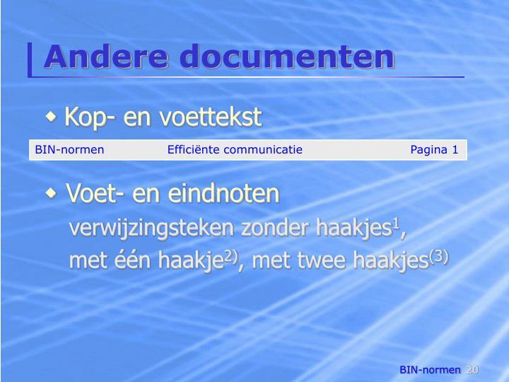 Andere documenten