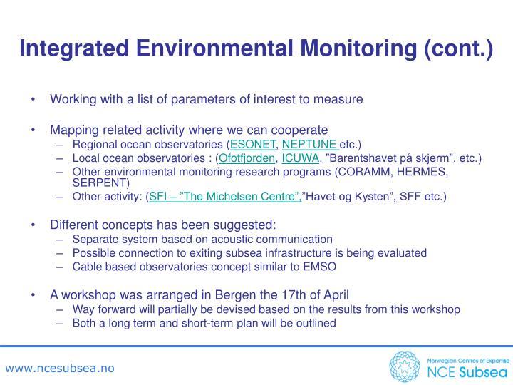 Integrated Environmental Monitoring (cont.)