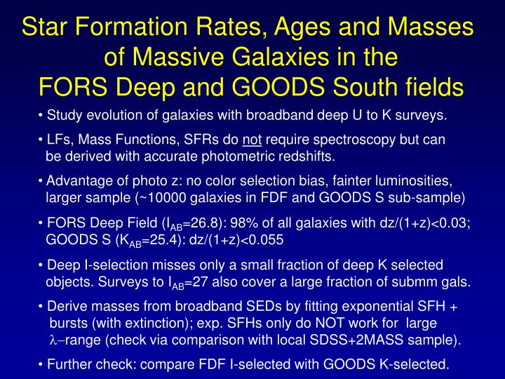 Star Formation Rates, Ages and Masses
