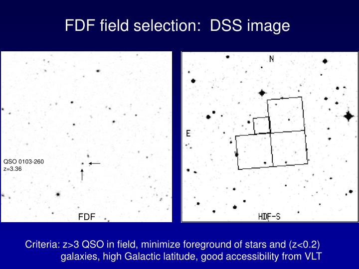 FDF field selection:  DSS image