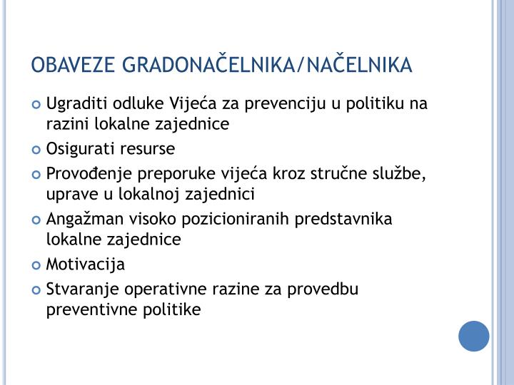OBAVEZE GRADONAČELNIKA/NAČELNIKA