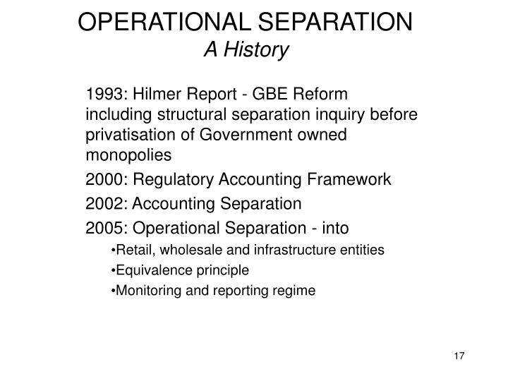 OPERATIONAL SEPARATION