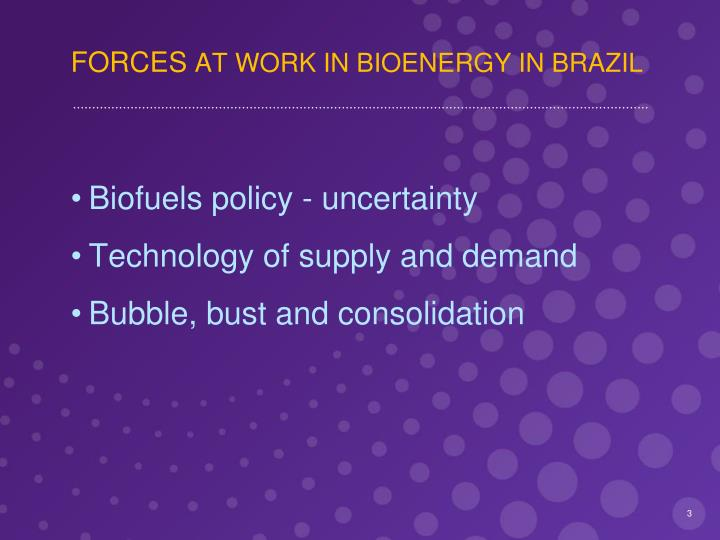 Forces at work in bioenergy in brazil