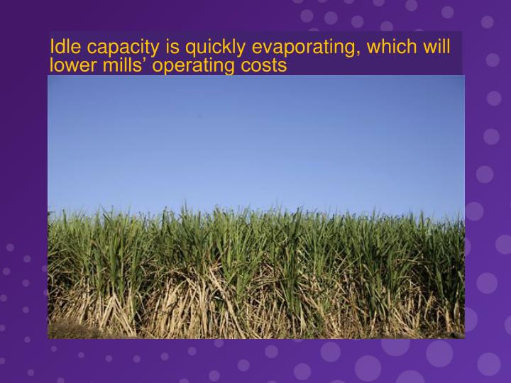 Idle capacity is quickly evaporating, which will lower mills' operating costs