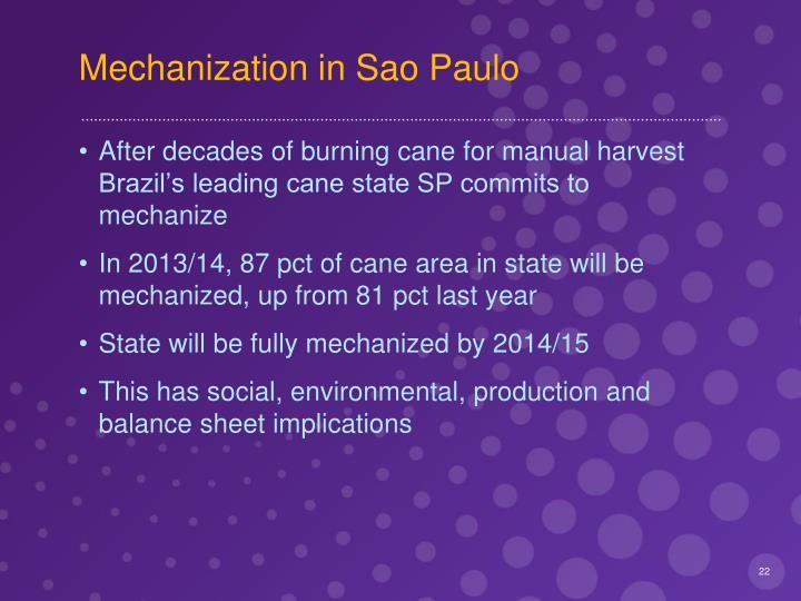 Mechanization in Sao Paulo