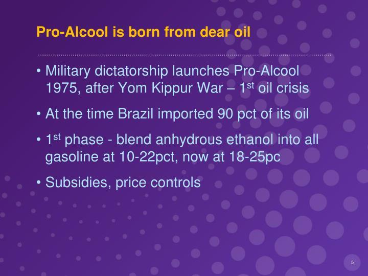 Pro-Alcool is born from dear oil