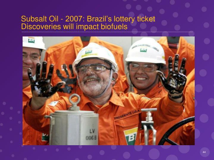 Subsalt Oil - 2007: Brazil's lottery ticket