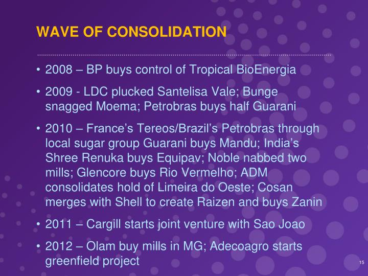 WAVE OF CONSOLIDATION