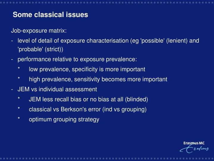 Some classical issues