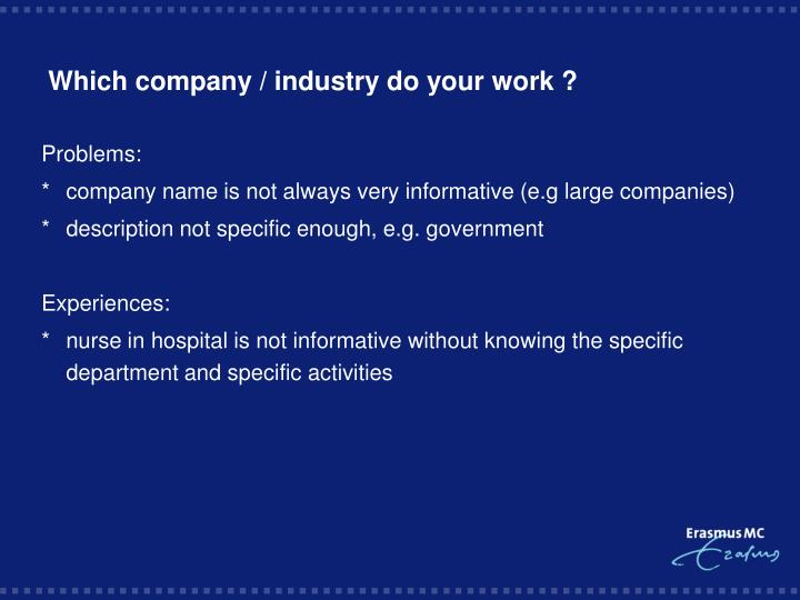 Which company / industry do your work ?