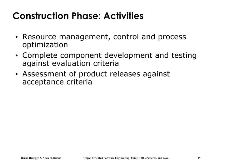 Construction Phase: Activities