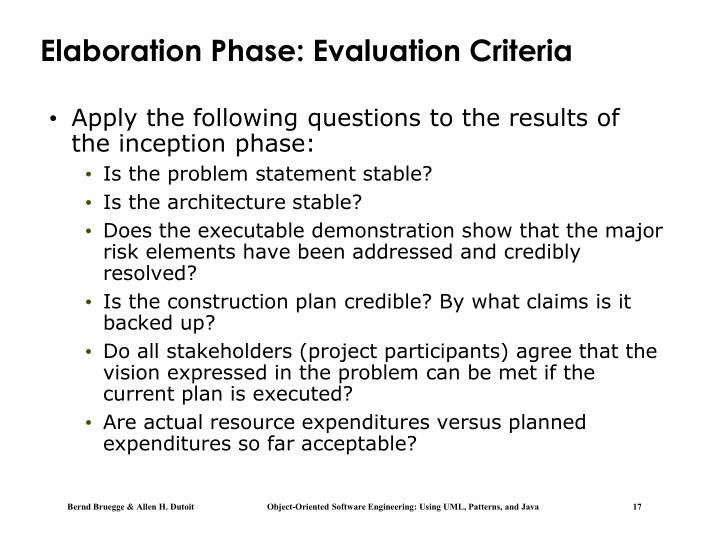 Elaboration Phase: Evaluation Criteria