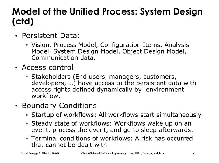 Model of the Unified Process: System Design (ctd)