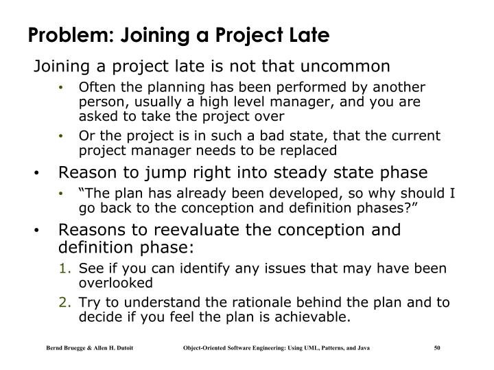 Problem: Joining a Project Late