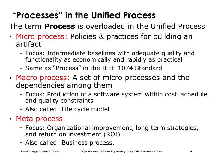 """""""Processes"""" in the Unified Process"""