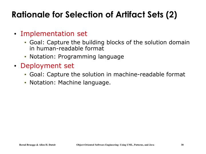 Rationale for Selection of Artifact Sets (2)