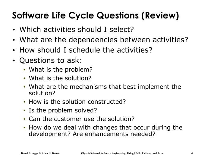 Software Life Cycle Questions (Review)