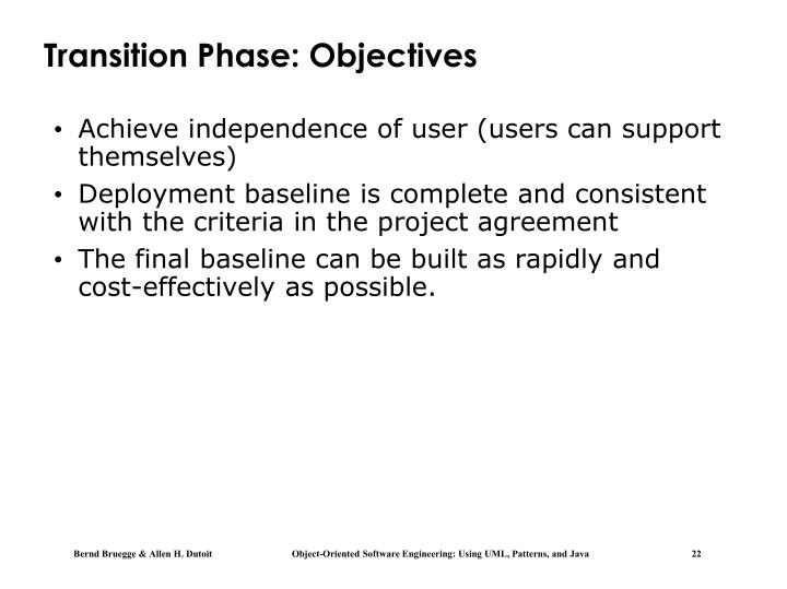 Transition Phase: Objectives