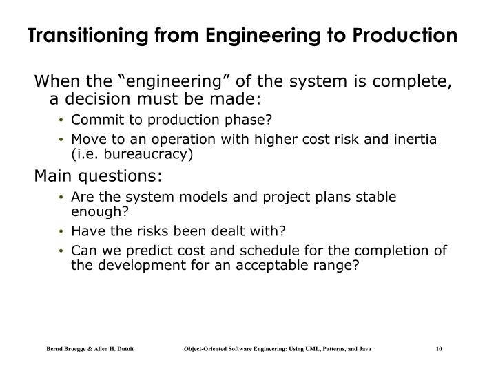 Transitioning from Engineering to Production