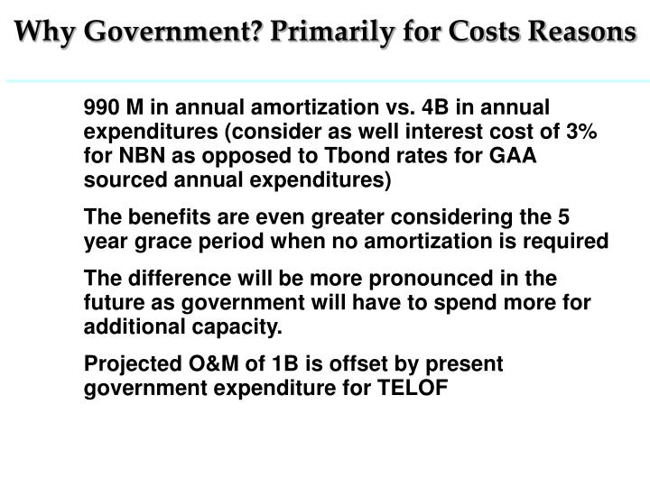 Why Government? Primarily for Costs Reasons