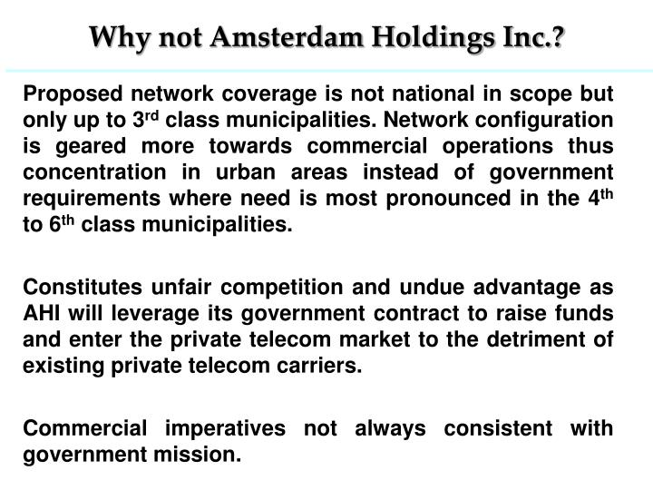 Why not Amsterdam Holdings Inc.?