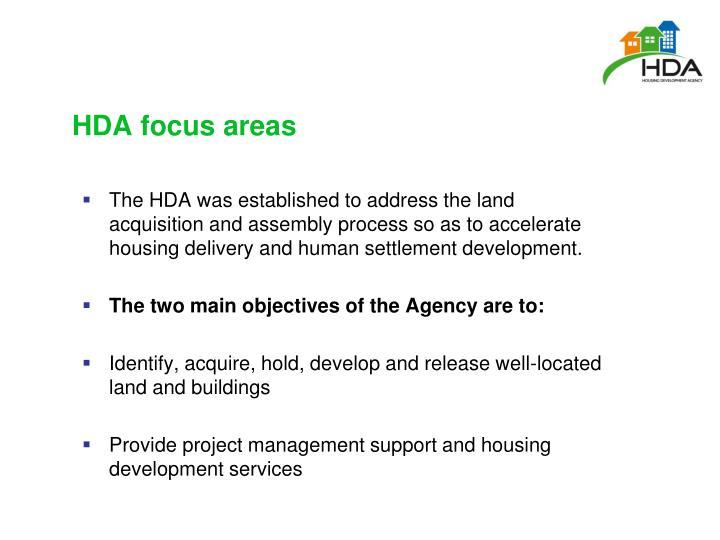 HDA focus areas