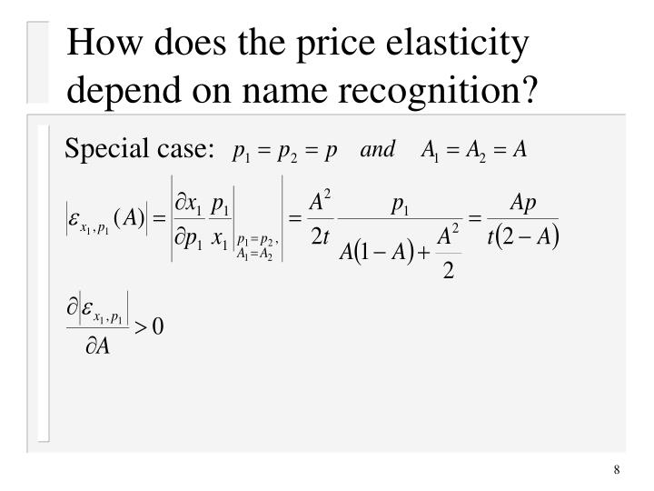 How does the price elasticity depend on name recognition?