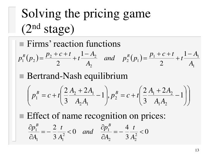 Solving the pricing game