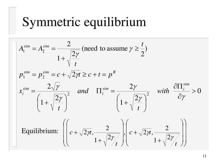 Symmetric equilibrium
