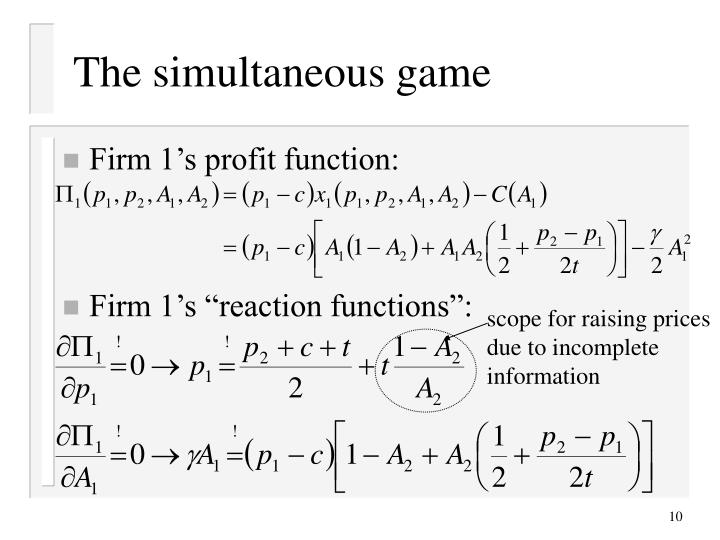 The simultaneous game
