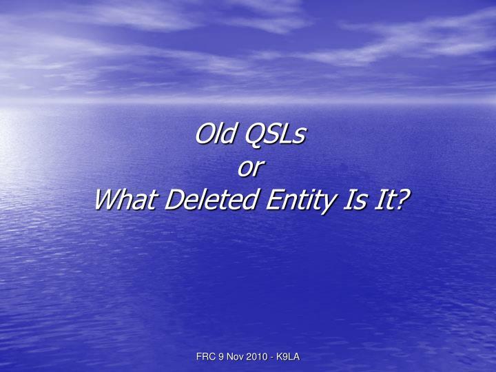 Old QSLs
