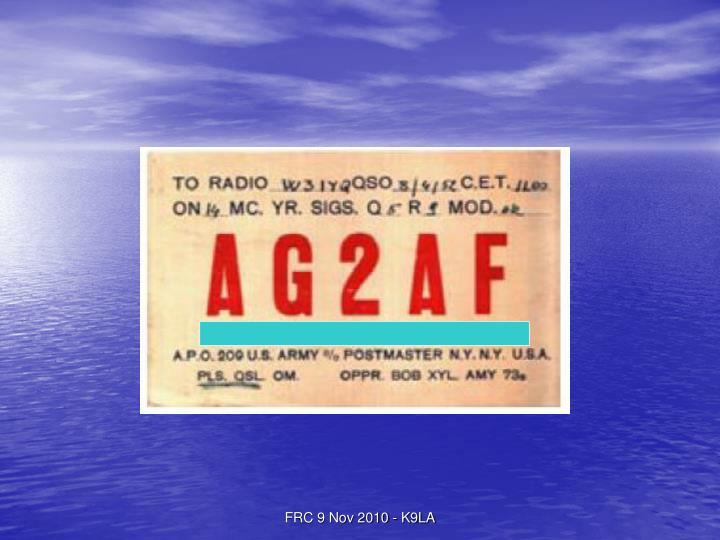 FRC 9 Nov 2010 - K9LA