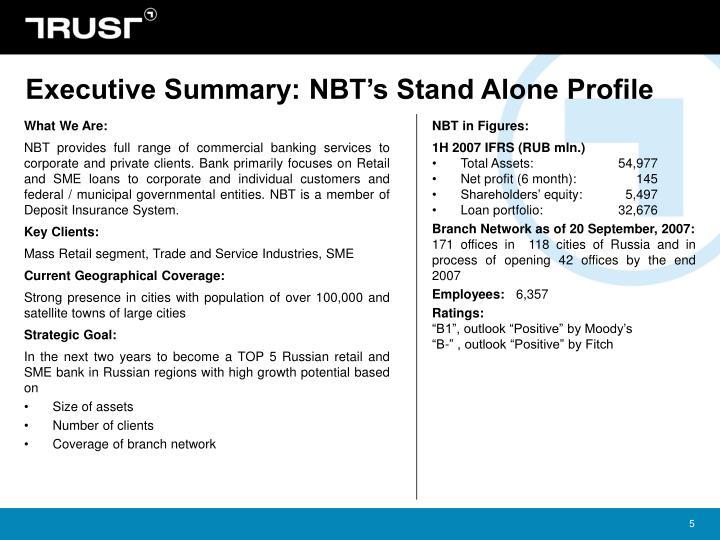 Executive Summary: NBT's Stand Alone Profile