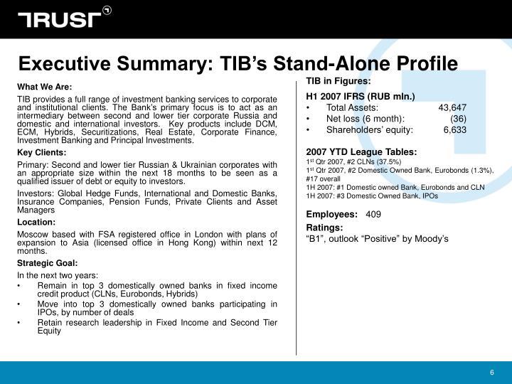 Executive Summary: TIB's Stand-Alone Profile