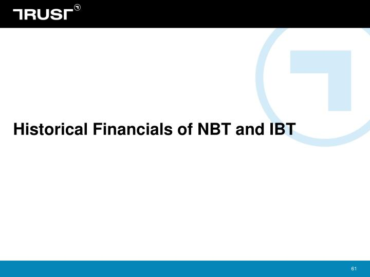 Historical Financials of NBT and IBT