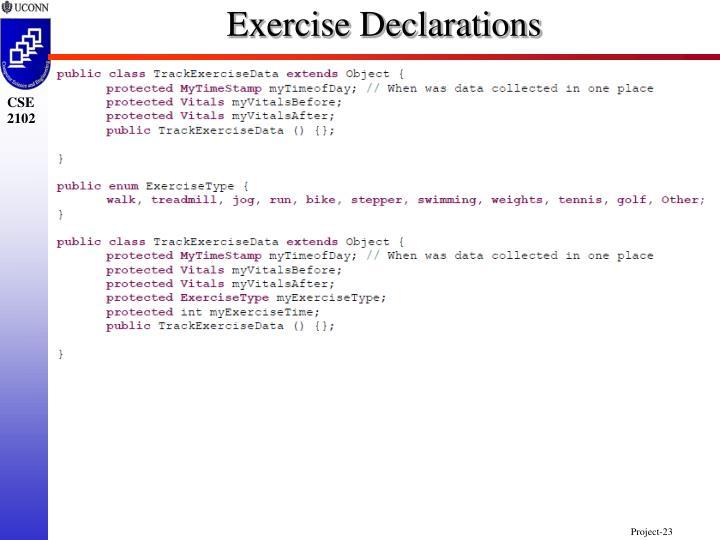 Exercise Declarations