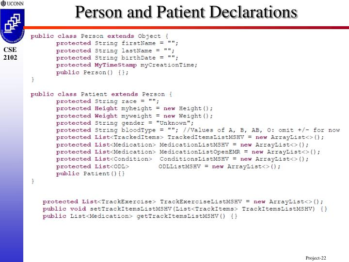 Person and Patient Declarations