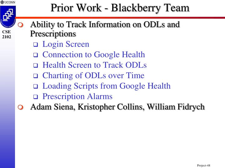 Prior Work - Blackberry Team