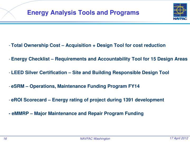 Energy Analysis Tools and Programs