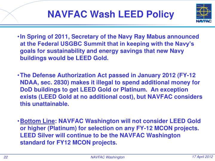 NAVFAC Wash LEED Policy
