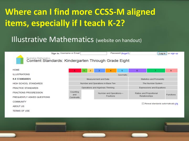 Where can I find more CCSS-M aligned items, especially if I teach K-2?