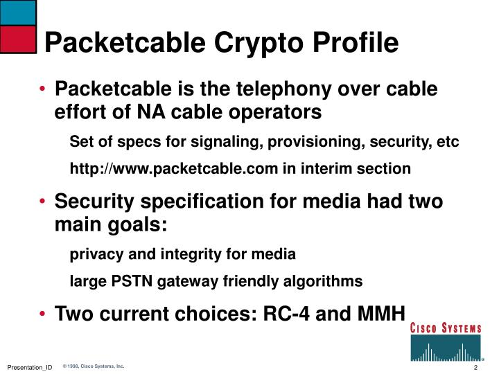 Packetcable crypto profile