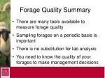 forage quality summary
